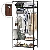 LANGRIA Heavy-Duty Zip Up Closet Shoe Organizer with Detachable Brown Cloth Cover Wardrobe Metal Storage...