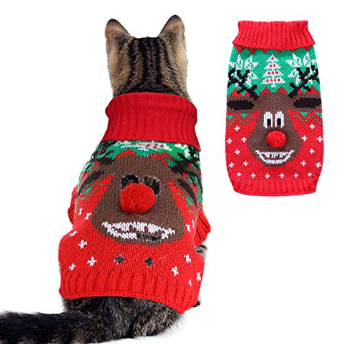 RYPET Small Dog Christmas Sweater - Cartoon Reindeer Knit Dog Sweater Holiday Pet Clothes for...