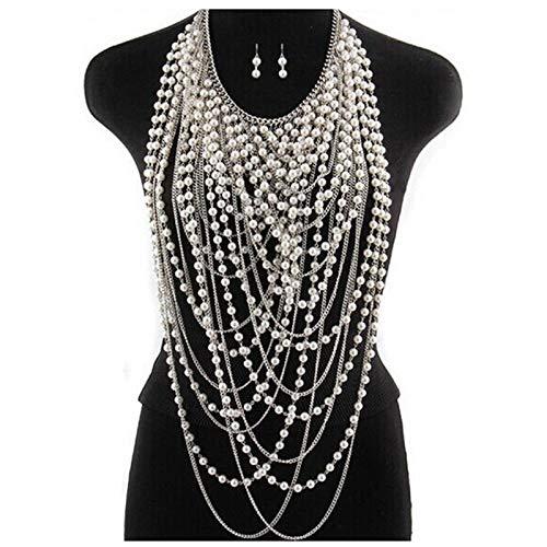 HTABY Frauen Körperkette Geschichtet Sexy Gold Quasten Halskette Modeschmuck Bauch Taille BH Bikini Strandgeschirr Zubehör Geschenk,Silber,One Size
