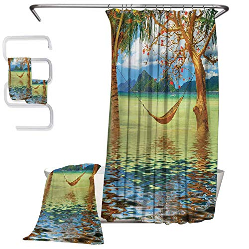 Beach Luxury microfiber household cleaning towel towels 4-piece bathroom set Image of Hammock Hanging between Trees in the Tropical Lake Paradise Lands Art Work Suitable compartment and bathtub (W72'