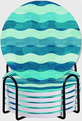 GUVICINIR Juego de 6 Posavasos de cerámica Absorbente con Base de Corcho,Apto para Tipos de Tazas,Olas del mar océano Abstracto sin Fisuras