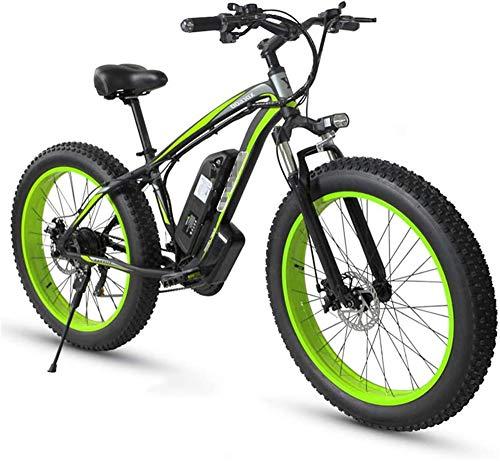 Bicicletta Elettrica, Bici elettrica Fat Tire Ebike 26  4.0, Mountain biciclette for adulti 21 Velocità Beach Mens sospensione sportiva Mountain Bike completa freni a disco meccanici ,Bicicletta