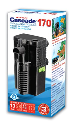 PENN PLAX (CIF4) Cascade 170 Submersible Aquarium Filter Cleans Up to 10 Gallon Fish Tank or Terrarium With Physical, Chemical, and Biological Filtration