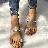 QIMITE Zapatillas Flip-Flop Sandalias Planas Chanclas de Verano Zapatillas de Playa Zapatillas macizas Mujeres Zapatillas de casa al Aire Libre Plata, Color de Foto, 40