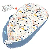 ANRRO Baby Lounger Baby Nest with 2 Covers, Co-Sleeping Baby Bassinet Ultra Soft & Breathable Portable Infant Bassinet for Newborn Baby of 0-18 Months(Rainbow Pattern & Leaf Pattern)