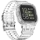 amBand Compatible with Fitbit Versa 3 Bands Fitbit Versa 2 Bands for Women Men, Protective Replacement Strap Case Band Protector Accessories for Versa 3/2/1/Lite Smart Watch Wristbands (Clear)