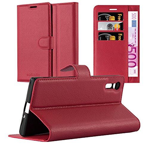Cadorabo Hülle für Sony Xperia XZ/XZs - Hülle in Karmin ROT – Handyhülle mit Kartenfach und Standfunktion - Case Cover Schutzhülle Etui Tasche Book Klapp Style