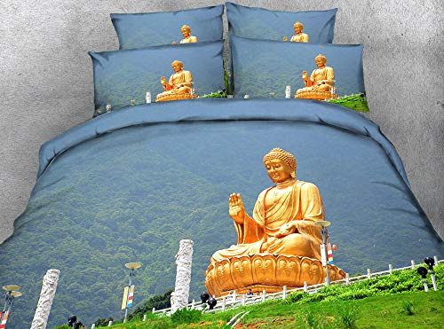 BSZHCT Duvet Cover Set Single Size Golden buddha statue Hypoallergenic Microfiber Quilt Cover Sets 3 pcs with Zipper Closure with 2 Pillow covers 50x75cm