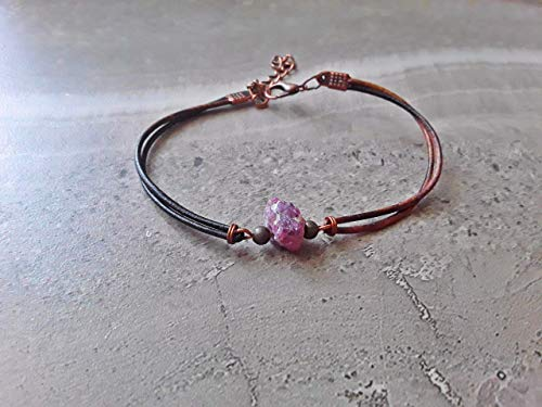 Raw Ruby July Birthstone Boho Bracelet Copper and Bronze