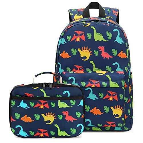 BLUBOON Preschool Backpack Kids Kindergarten Backpack With Lunch Box School Book Bags for Elementary Primary Schooler (T-Navy)