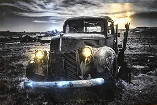 Samarkand - Lights LED-Bild mit Beleuchtung LED- Bilder Leinwandbild 65 x 45 cm Leuchtbild US CAR/Pickup/Wandbild