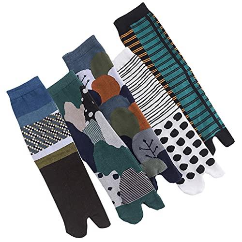 Happyyami 5Pairs Tabi Socken Japanischen Stil Zwei- Finger Socken V- Kappe Flip- Flop Großer Kappe Tabi Socken Spaß Neuheit Baumwolle