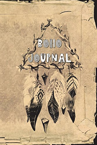 Boho Journal: 140 Lined Pages Softcover Notes Diary, Creative Writing, Class Notes, Composition Notebook -  Sepia Antiqued Hanging Feathers
