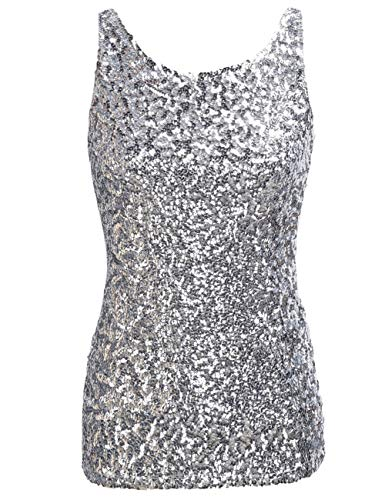 PrettyGuide Women Shimmer Glam Sequin Embellished Sparkle Tank Top Vest Tops ,Silver,Us Size -Large, Asian Size- XL