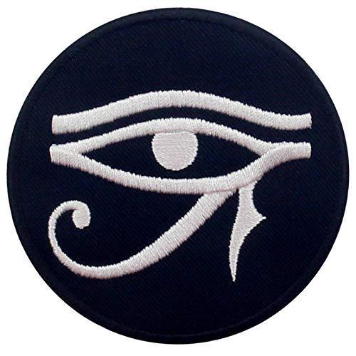 Ojo de Horus Wedjat Parche Bordado de Aplicación con Plancha, Blanco negro
