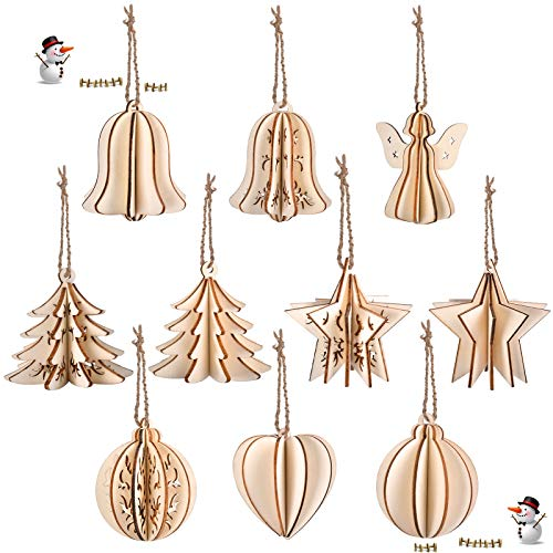 EKKONG 10 Christmas Decorations,2020 New Christmas Tree Pendant,Wood Hanging Ornaments,Wood Solid Three-Dimensional Hollow Decorative Small Pendant