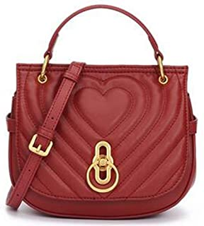 Fashion Leather Handbag New Embroidery Thread Lock Saddle Bag Simple Casual Shoulder Diagonal Package (Color : Red)