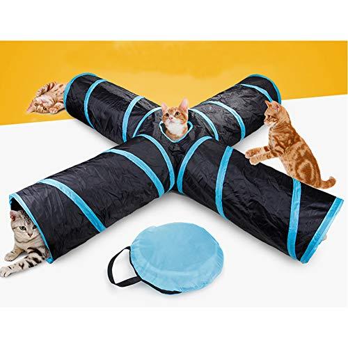 Nobranded 4-Wege-Katzentunnel, groß, für drinnen und draußen, zusammenklappbar, interaktives Spielzeug, Labyrinth, Katzenhaus, Bett mit Bällen und Glöckchen, für Katzen, Welpen, Hund