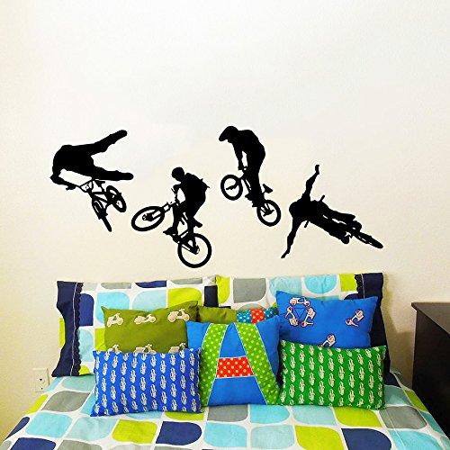 Sticker Mural Autocollant De Vinyle Stickers Art Intérieure Décor Murale Saut Vélo Cycliste Bmx Freestyle Saut Extrême Sport Cadeau Enfants Bébé Dortoir An196
