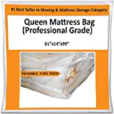 Queen Mattress Bag for Moving Storage Cover - 4 Mil Heavy Duty Thick Plastic Wrap Protector Reusable Bags Supplies