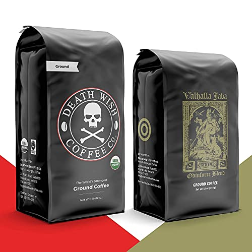 DEATH WISH Coffee - The World's Strongest Coffee [1 lb] and VALHALLA JAVA Odinforce Blend [12 oz] Ground Coffee in Bundle/Pack/Gift Set   USDA Certified Organic, Fair Trade   Arabica and Robusta Beans