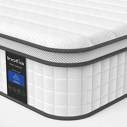 Twin Mattress, Inofia Responsive Memory Foam Mattress, Hybrid Innerspring Mattress in a Box, Sleep Cooler with More Pressure Relief & Support, CertiPUR-US Certified, 10 Inch, Single Size