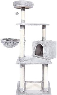 يمكن لشقة شجرة القط الخمسة طوابق مع أرجوحة أن تستوعب خمسة قطط، ولديها كرة سقوط، 47.2 بوصة أثاث شقة كات متعدد الطوابق (رمادي).