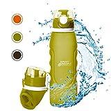 sport2people Botella de Agua Plegable de Silicona de 1 L, Calidad médica, sin BPA, con válvula de Seguridad para Viajes, Deportes, Exteriores, Camping (Army Green)