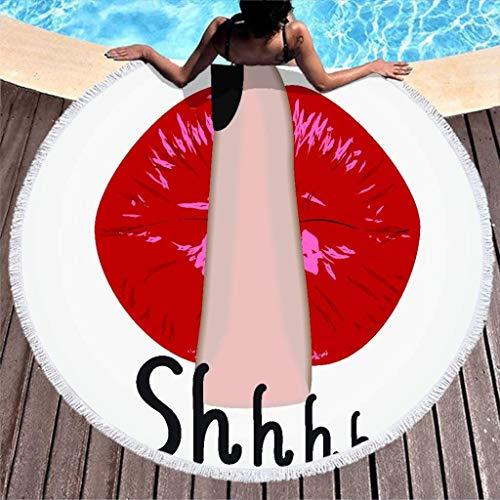 Aubrdon Runde Strandtuchdecke - Hush Red Mouth Plüsch Strandtücher Große abgerundete runde Picknickmatte 150cm