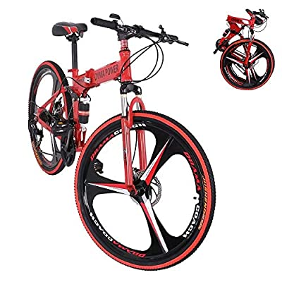 PUTEARDAT 26 Inch Wheels Folding Mountain Bike, 21 Speed Adult Bicycle with Dual Disc Brakes Full Suspension for Men Women (Red)