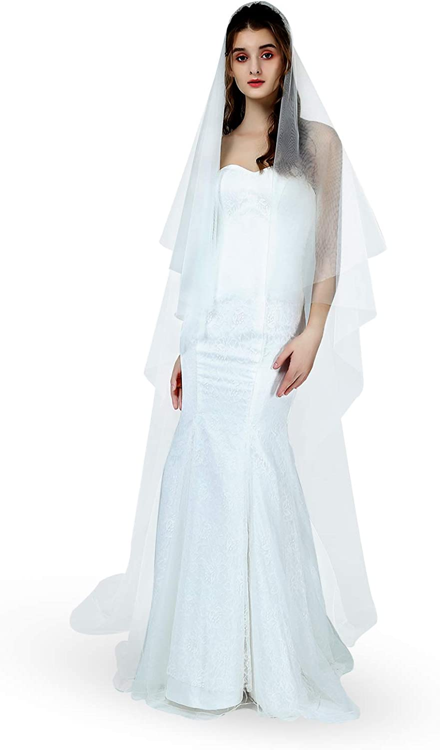 Bridal Wedding Veil 2 Tier For Women Cut Edge Knee Chapel Length With Comb Ivory White