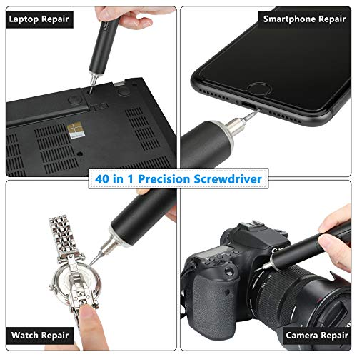 POWERAXIS Mini Electric Screwdriver, 42 in 1 Small Cordless Electric Precision Screwdriver Kit Including 40 Driver Bits, LED Lights and Magnetic Mat Handy Repair Tools for Phone/Laptop/Watch/Camera