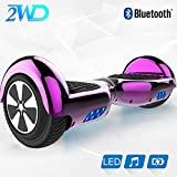 2WD 6.5 '' Hoverboard Scooter elctrico Las Ruedas LED Luces Self Balance Scooter con Bluetooth, Scooter elctrico 6.5'- UL2272 Certificado el monopatn elctrico 2 * 350W