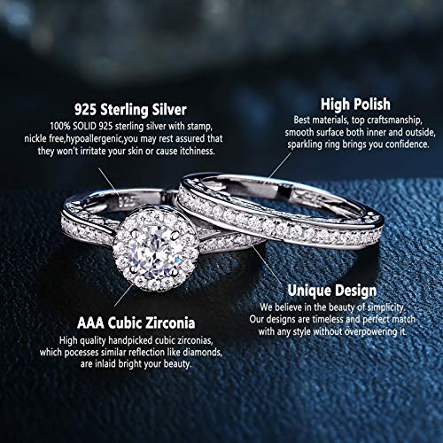 Newshe Jewellery Alice 2.4 Carat Round White CZ 925 Solid Sterling Silver Wedding Band Engagement Ring Set Size 6