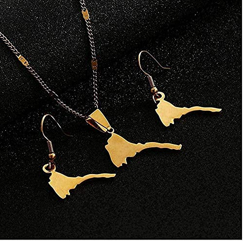 ZGYFJCH Co.,ltd Collar de Acero Inoxidable Mapa Liso de Eritrea Collares Pendientes Pendientes Mapas de Color Dorado de Eritrea Conjunto de Joyas