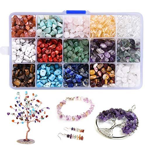 Perlas de Piedras Preciosas de 15 Colores, Forma natural de 4-8 mm con Forma de Nugget Natural Irregular,Piedras Curativas con Orificio para Manualidades, para Enhebrar, Pulseras, Collares, Joyas