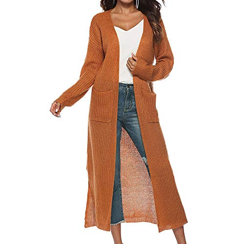 Vertvie Damen Mantel Langarm Open Front Cardigan Strickjacke Asymmetrisch Schnitt Strickmantel Langshirt mit Taschen (L, Erde gelb)