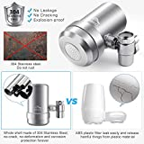 JONYJ Faucet Water Filter, 304 Stainless-Steel Water Faucet Filtration System, High Water Flow Tap Water Filter, Water Purifier Reduces Chlorine - Fits Standard Faucets (2 Filters Included)