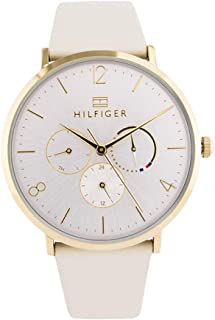 Tommy Hilfiger 1782035 Womens Quartz Watch, Analog Display and Leather Strap, Silver