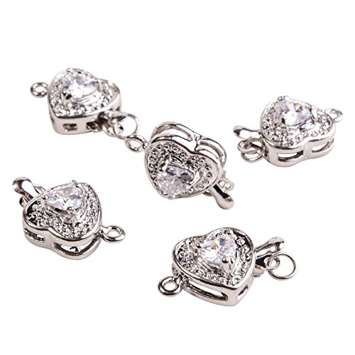 PandaHall Elite Plated Box Clasps with Cubic Zirconia Beads 17x11mm