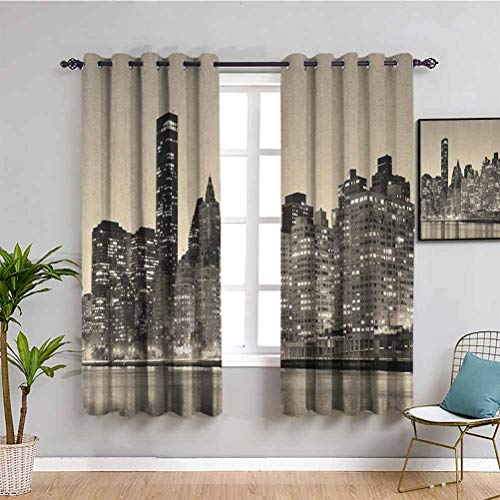 SONGDAYONE New York Shading cortina aislada Manhattan Bridge y el horizonte de Nueva York en Sunset East River Highrise Edificios de protección Multicolor, poliéster, Color02, W84 x L84 Inch