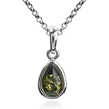 Sterling Silver Green Amber Drop Pendant Chain 18 Inches