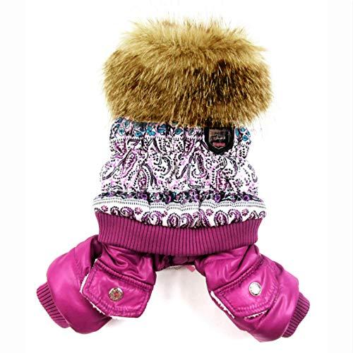 Judy Hafgey Purple Bubble Cotton Cuello de Piel de Lujo Estilo Mascotas Perros Abrigo de Invierno Ropa Popular para Perros Nuevo Abrigo para Perros Invierno   Abrigo de Invierno para Perros