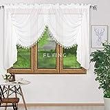 FKL Schöne Fertiggardine Fenstergardine Gardine aus Voile mit Faltenband Kräuselband Store Kurz Modern Fenster Weiß Gipüre 150x400 cm LB-11