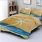 Juego de funda nórdica, ilustración de hamaca en la playa tropical de arena con color exótico estampado decorativo océano Juego de cama de 3 piezas con 2 fundas de almohada, crema azul marino, Best Gi