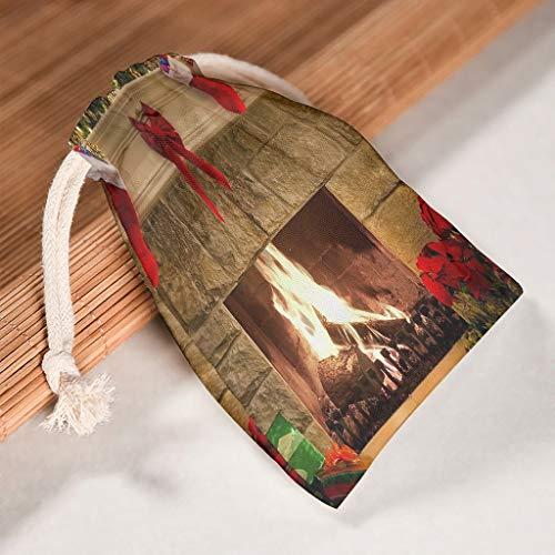O2ECH-8 6-pack voor 6 opslag op canvas koordsluiting party tas duurzame snoeppak voor Valentijnsdag bruiloft geschenk wrap tassen - christmas ontworpen print 20 * 25cm wit