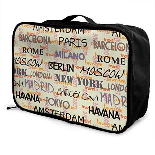 Qurbet Reisetaschen,Reisetasche, Moscow,Paris,Milan Pattern Overnight Carry On Luggage Waterproof Fashion Travel Bag Lightweight Suitcases