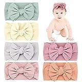 Makone Baby Stirnband, Handgefertigt Haarband mit Bögen 5,5 Zoll Big Hair Bow Stirnband für Säuglingsbabys - Mehrfarbig 8 Stück