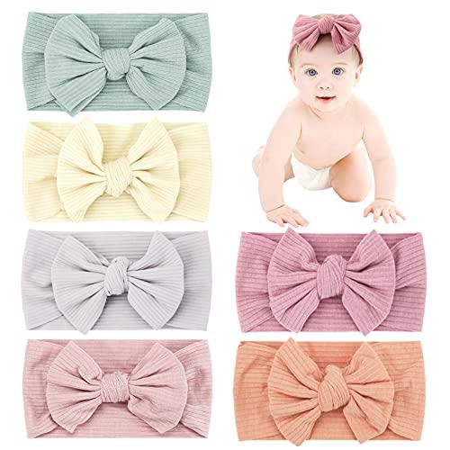 Makone Diademas de bebé, 6 piezas, turbante de nudo de bebé suave súper elástico, 6 colores diferentes, diademas para bebés recién nacidos, diadema para la cabeza