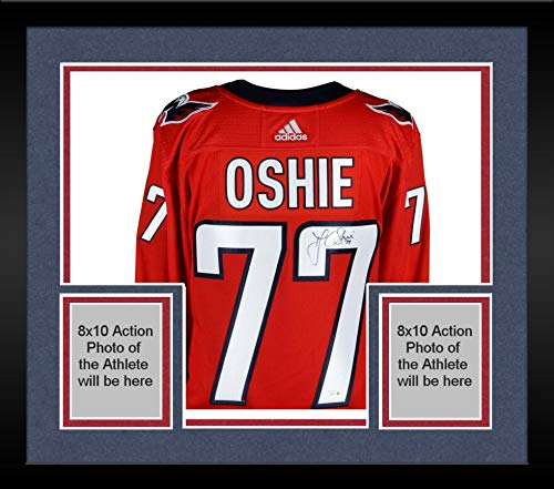 Framed T.J. Oshie Washington Capitals Autographed Red Adidas Authentic Jersey - Autographed NHL Jerseys